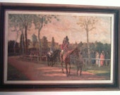 """Vintage Signed Oil Painting """"Leading the Horses to the Race"""" 1950's"""