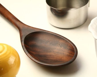 Big manly wooden spoon kitchen utensil carved from California Walnut wood
