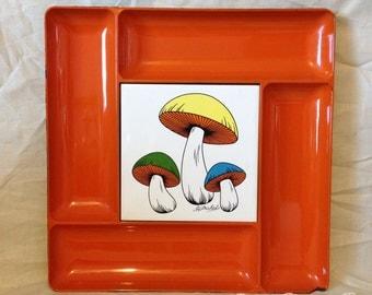 Retro Serving Tray Mushroom Mushrooms