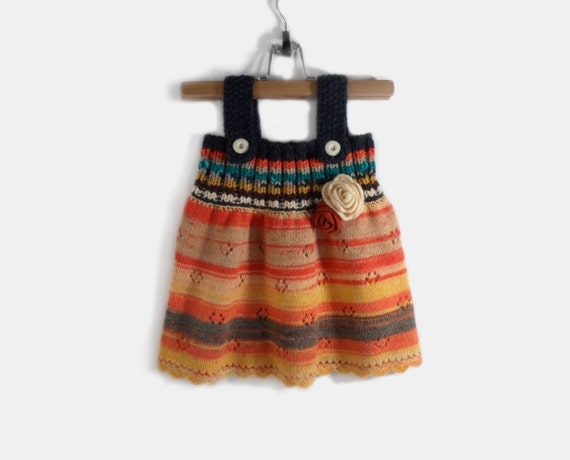Knitted Girl Dress - Multicolor, 1 - 2 years