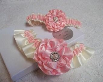 Pink Wedding Garter Set, Light Pink and Ivory Bridal Garter Set with Pearl and Rhinestone Centers, Bridal Garter Set
