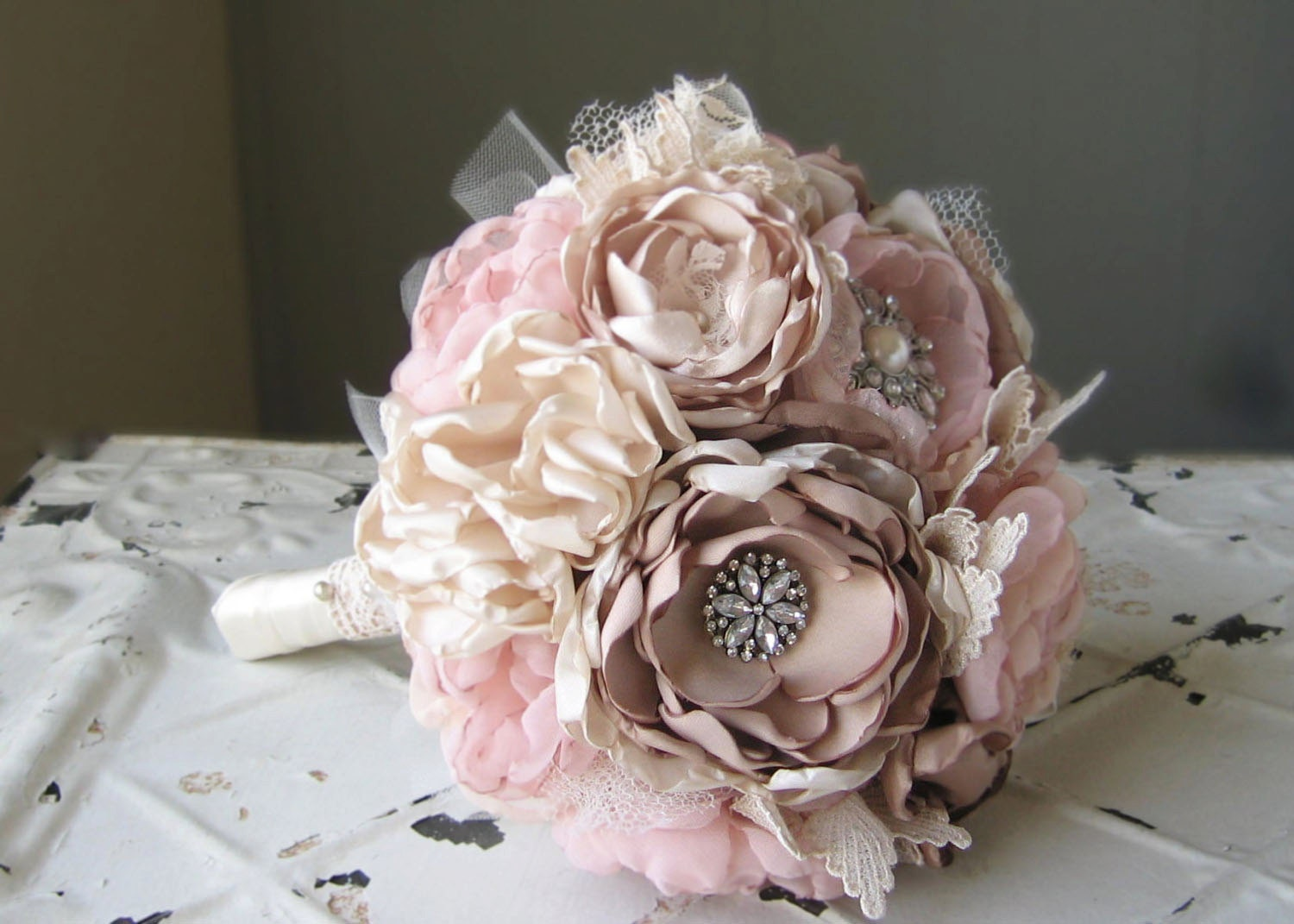 Custom Order For KATE Fabric Bridal Bouquet Fabric Flower