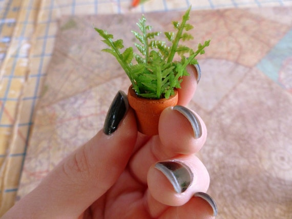 Miniature Fern Potted House Plant Dollhouse 1 12 Scale