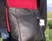 Crossbody purse -Large Emily style - black leather purse- Made in the United States