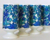 Set of 4 Espresso Pedestal Cups in a Mod Blue Turquoise 1970  Flower Print