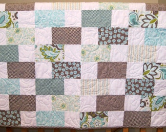 "SALE Riley Blake Verona Gray and Teal Baby, Toddler or Lap Girl Quilt--42"" x 46"""