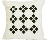 Cushion Cover - Diamond Black & White Screen Printed 16 x 16 inches (40cm x 40cm)