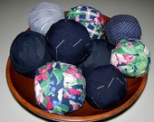 Large Lot Rag Rug Fabric Balls for primitive display braided crochet rugs Navy Blue Red