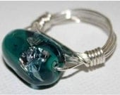 Silver Wire Wrapped Lampwork Glass Bead Ring in Teal and Transparent - Size 7