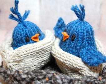 Blue Birds in Nest Waldorf Soft Knit Toy for Boys and Girls - Bird Hatchlings in Nest - Woodland Nursery - 5 piece set - Eco Friendly Toy