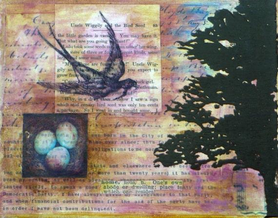 Mixed media wall art with nest, eggs, swallow bird