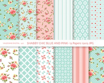 Shabby Chic Digital paper pack in blue and pink, digital backgrounds, Cottage Papers, 12 jpg files 12x12 - INSTANT DOWNLOAD Pack 427