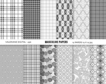 Grey digital papers, Classic digital backgrounds, masculine boys and men - 12 jpg files 12x12 - INSTANT DOWNLOAD Pack 430