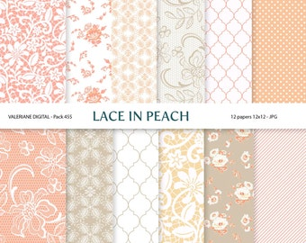 Peach cream and beige lace Digital wedding paper, scrapbook paper, 12 jpg 12x12 -INSTANT DOWNLOAD Pack 455