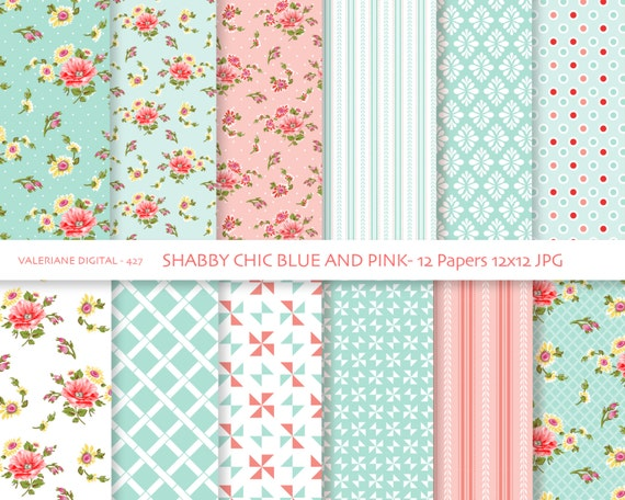 Shabby Chic Digital paper pack in blue and pink digital