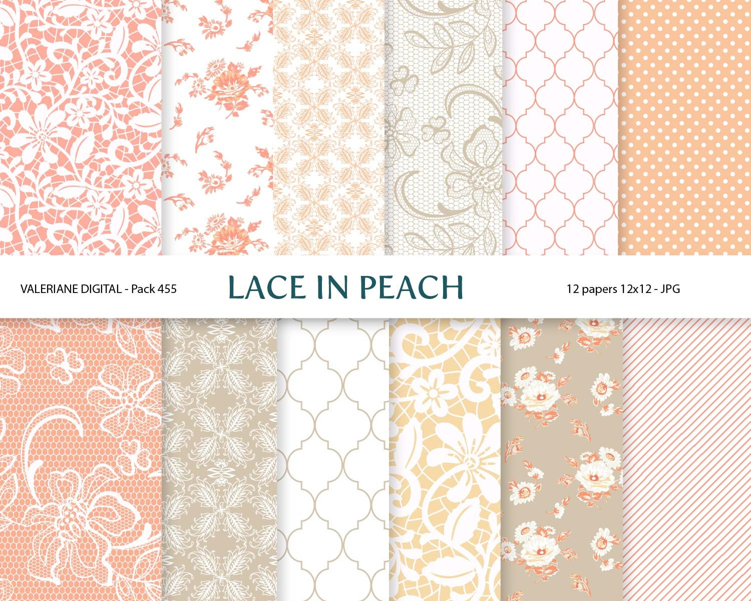 12x12 wedding scrapbook paper - Peach Cream And Beige Rose Digital Wedding Paper Scrapbook Paper 12 Jpg 12x12 Instant Download Pack 456