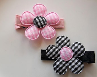 Black Pink GINGHAM FLOWERS Hair Clips Clippies Baby Toddlers Girls Infants