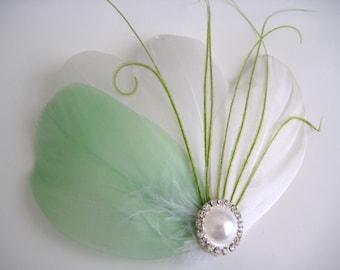 Wedding Bridal Bridesmaid White Mint Lime Green Feather Pearl Rhinestone Head Piece Hair Clip Fascinator Accessory