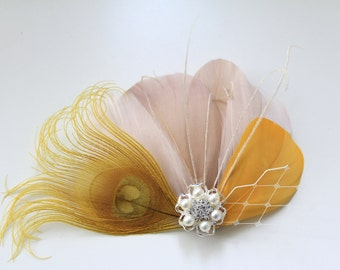 Wedding Bridal Mustard Peacock Golden Yellow Champagne Feather Rhinestone Jewel Head Piece Hair Clip Fascinator Accessory