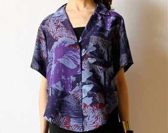 80s Silk Hawaiian Shirt Floral Print Cropped New Wave Top, hipster office summer beach blouse, purple, periwinkle, lilac button down