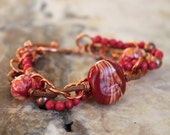 boho bohemian bracelet red mixed media glass lampwork leather wood copper