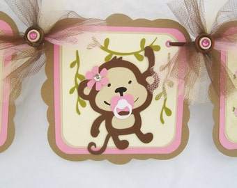 Monkey baby shower banner, its a girl, pink, brown and ivory,