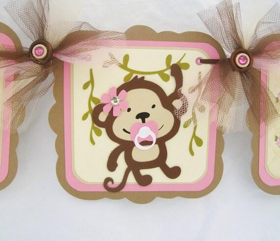 Monkey Banner Monkey Baby Shower Monkey By Nancysbannerboutique