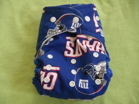 SassyCloth one size pocket diaper with NY Giants cotton print. Made to order.