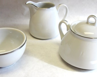 Cream Pitcher and Sugar Bowl Set White China Cream Sugar Bowl