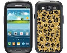 Custom OTTERBOX Commuter Samsung Galaxy S3 S4 S5 S6 Note 3 4 5 Phone Case Cover Glitter Cheetah Leopard Spots Monogrammed B1