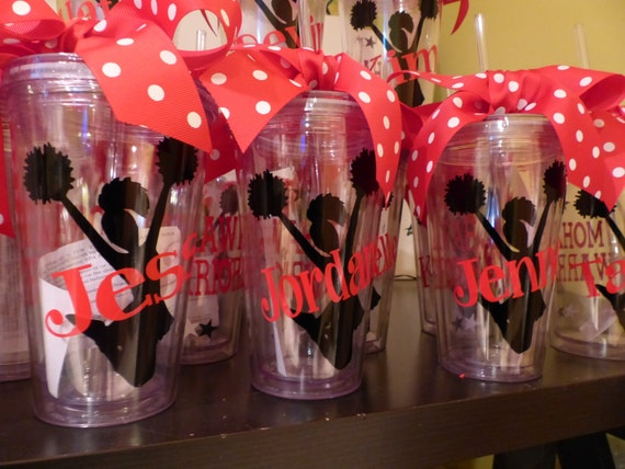 Personalized Cheerleader Tumblers With Straw Banquet Gifts