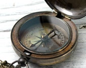 "Compass, Personalizable Compass, Antique Finish Reproduced ""Anchor"" Nautical Brass Push Button Pocket or Necklace CP04a by CC&C"