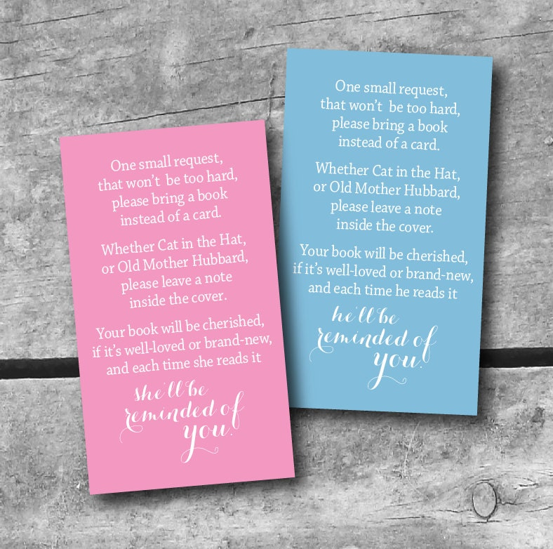 instant download baby shower book request card color choice