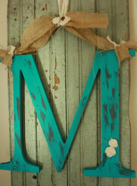 Door Initial Monogram Shabby chic style You choose color and letter