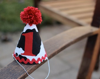 First Birthday HAT Cow Print Red White Black Farm Old MacDonald 1st Birthday Outfit Toddler Baby Boy or Girl