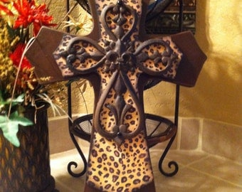 Large Leopard Print Brown Wood Wall Cross