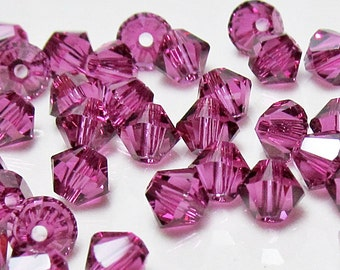Swarovski Crystal Beads 4mm Bicone Xilion ( 5328 ) -  Fuchsia /Fuschia Pink Qty 24