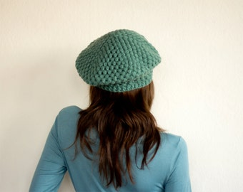 Pure Wool Crochet Beret in Teal Green, Hand-knitted Natural Winter Accessories, Bohemian Fashion