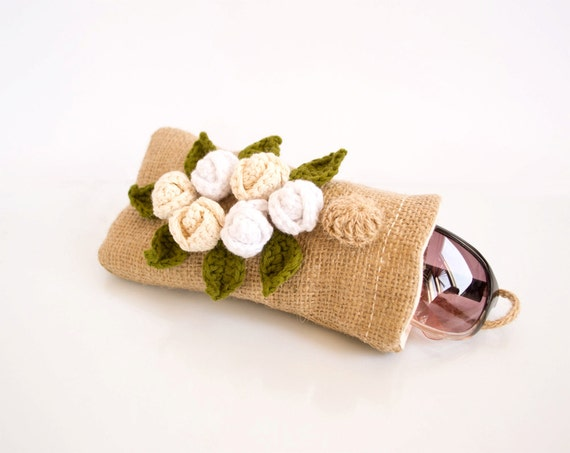 Country Chic Burlap Sunglasses Eyeglasses Case, Shabby Chic Floral Eyewear, Romantic Country Accessories, Cream Roses