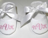 Best Baby Gift  Ever! - Baby Baptism Shoes - Personalized White Booties - Christening Booties -Newborn Keepsake Gift - Baby Shower Gift