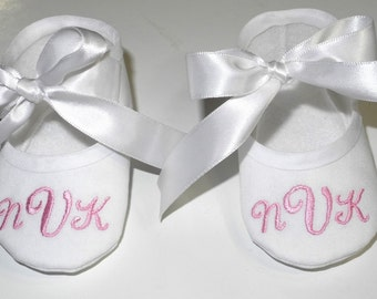 Best Baby Gift! - Baby Baptism Shoes - Personalized White Booties - Christening Booties - Booties and Slippers - Keepsake Gift for Baby