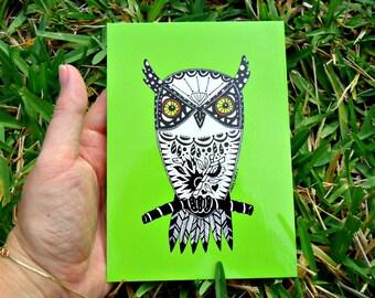 Postcards Green Owl Animal Art