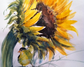 Sunflower shade with yellow finch