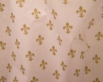 "Tissue Paper - Fleur De Lis Gold and White - 24 Sheets of 20"" by 30"" -DIY Wedding Decor - Gift Wrap Idea - Favor Box Packaging"