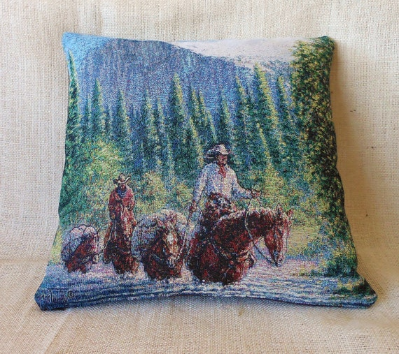 Western Cowboy Pillow Cover - pack horse and mule in mountain tapestry