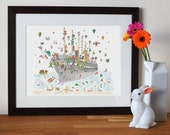 nursery art, animal print, boat print, wall art, baby print, S.S. Great Britain, Bristol Landmark