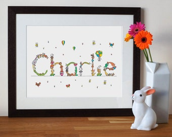 custom baby name nursery print with animal letters