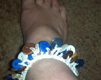 Blue on Brown on White Button Bracelet or Anklet