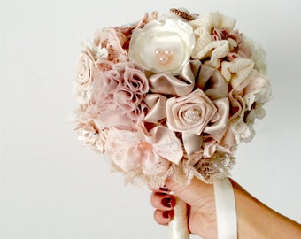 Blush wedding Bouquet Fabric Bridal Bouquet DEPOSIT