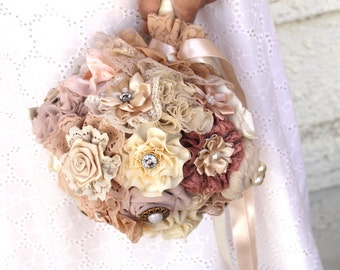 Champagne blush  wedding Bouquet Fabric Bridal Bouquet DEPOSIT